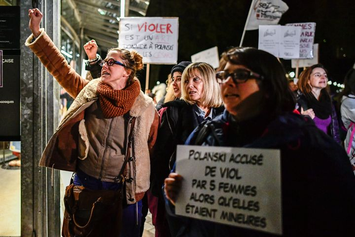 "French activists protest Polanski's 2017 film, ""Based on a True Story."""