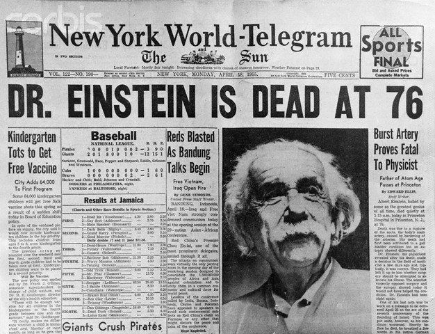 Albert Einstein died of internal bleeding in a Princeton, N.J. hospital on April 18, 1955. He was 76 years old.