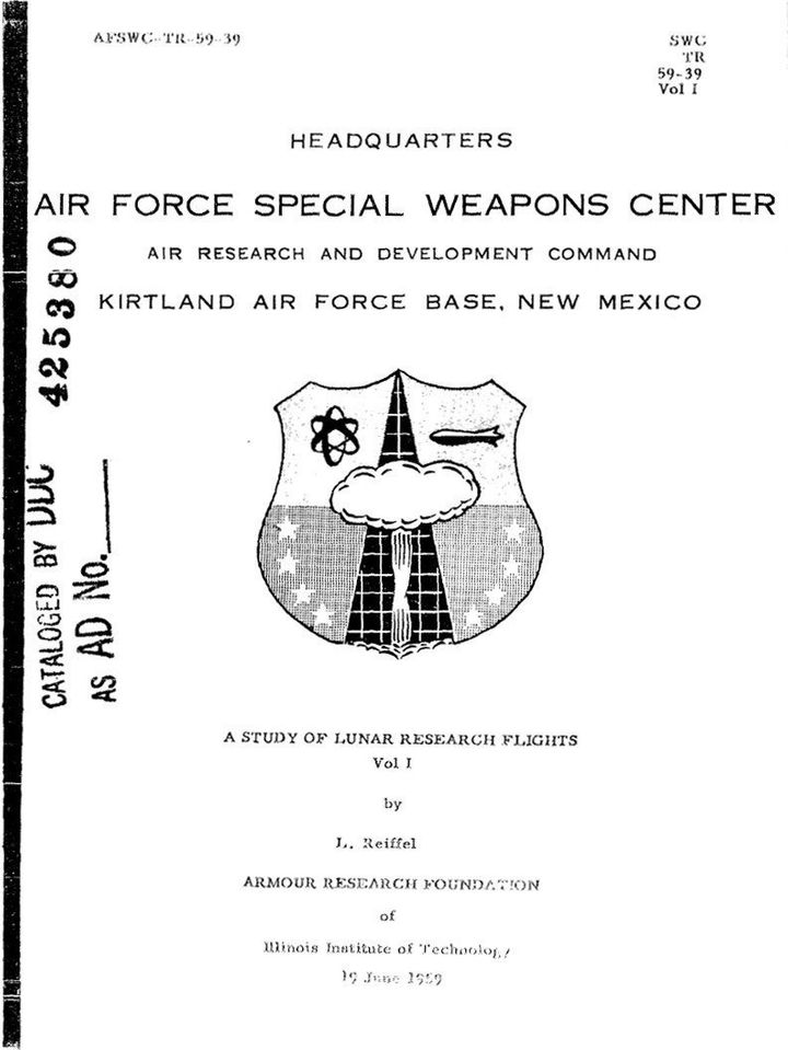 I of en:Project A119 | A Study of Lunar Research Flights , a 1950s top-secret plan developed by the United States Air Force w