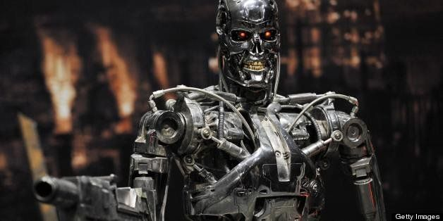 A full-scale figure of a terminator robot 'T-800', used at the movie 'Terminator 2', is displyed at a preview of the Terminat