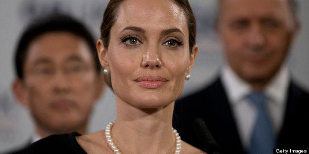 LONDON, ENGLAND - APRIL 11:  Actress Angelina Jolie, in her role as UN envoy, talks during  a news conference regarding sexua
