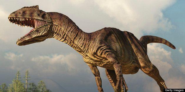 Allosaurus running in an open field.
