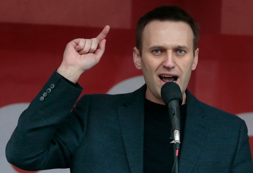 Russian opposition leader Alexei Navalny speaks during a major protest rally in Bolotnaya Square in Moscow, Russia, Monday, M