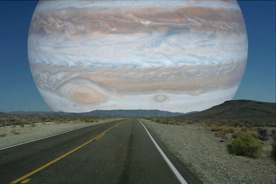 What Jupiter would look like if it were the moon's distance away from Earth.