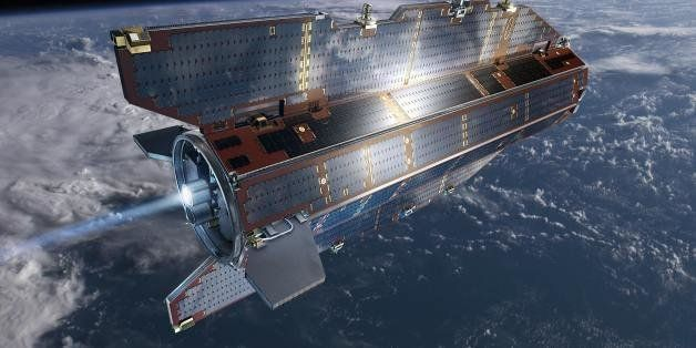 Undated artists impression of the Gravity field and steady-state Ocean Circulation Explorer (GOCE) satellite which is planned to lift off from Plesetsk on March 16, 2009. GOCE is dedicated to measuring Earth's gravity field and modelling the geoid with unprecedented accuracy and spatial resolution. Data from this advanced gravity mission will improve our knowledge of ocean circulation, which plays a crucial role in energy exchanges around the globe, sea-level change and Earth-interior processes. AFP PHOTO/ESA/AOES MEDIALAB (Photo credit should read -/AFP/Getty Images)