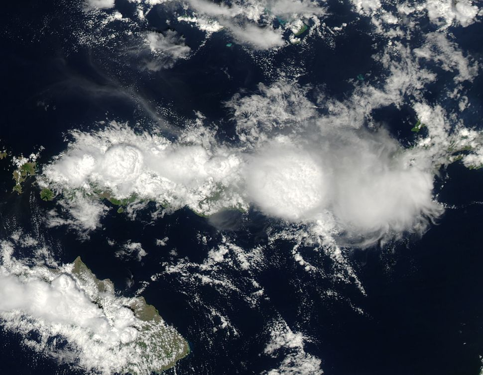 This view of Earth from space shows mushrooming clouds over the Indonesian island of Flores, as seen by NASA's Aqua Satellite