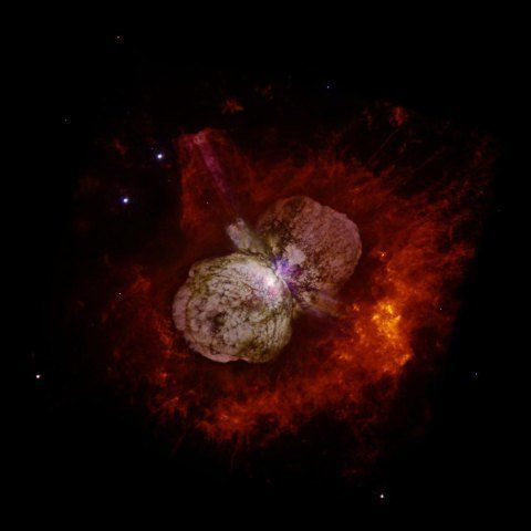This image, generated by the Hubble Space Telescope, shows dust and gas clouds surrounding the supermassive star Eta Carinae.