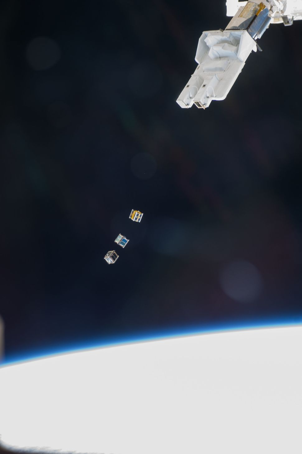 These nanosatellites, or cubesats, were deployed by the International Space Station's Small Satellite Orbital Deployer on Nov
