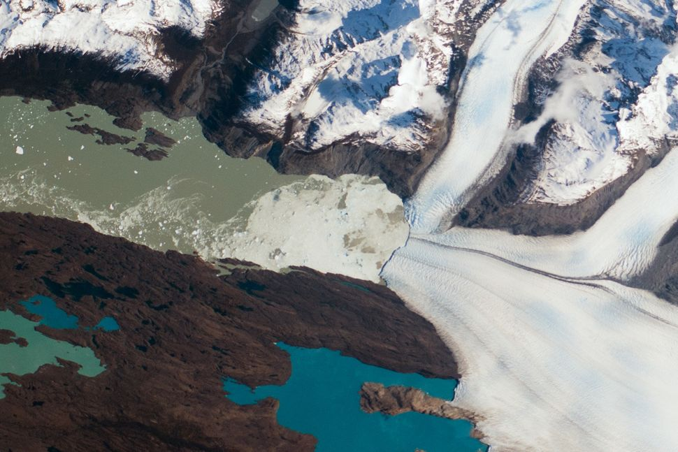 The photo shows the Upsala Glacier on the Argentine side of the North Patagonian Icefield as seen by an astronaut aboard the