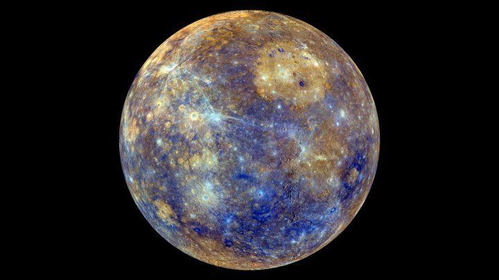 NASA's Mercury-orbiting MESSENGER spacecraft captured this dazzling false-color image.