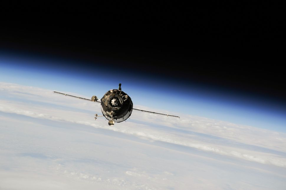 This photo shows a Soyuz spacecraft as it approached the International Space Station on September 25.