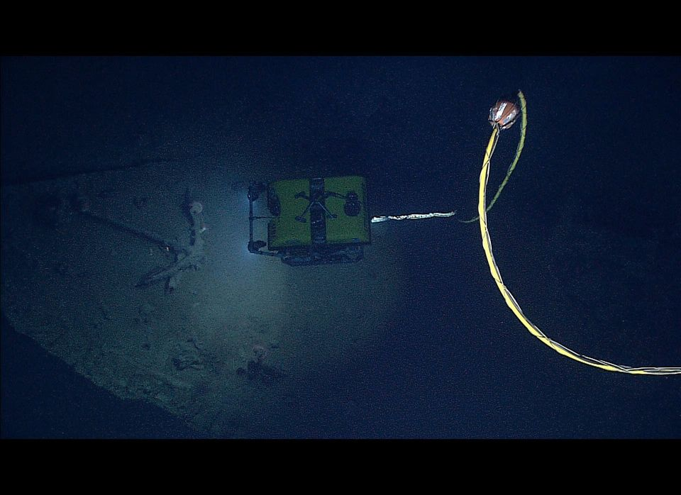 NOAA's Seirios Camera Platform, operating above the Little Hercules ROV, images the ROV and an anchor inside the hull of a co