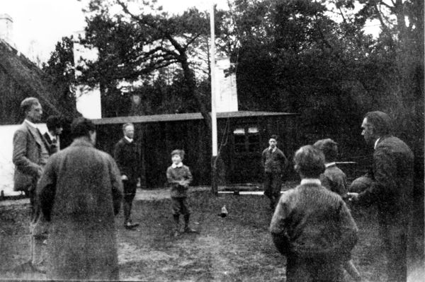 Danish theoretical physicist Niels Bohr (1885-1962) playing ball, circa 1910.