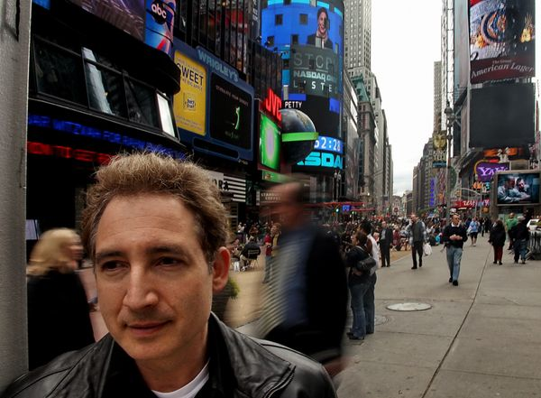 American physicist Brian Greene in New York City's Times Square.