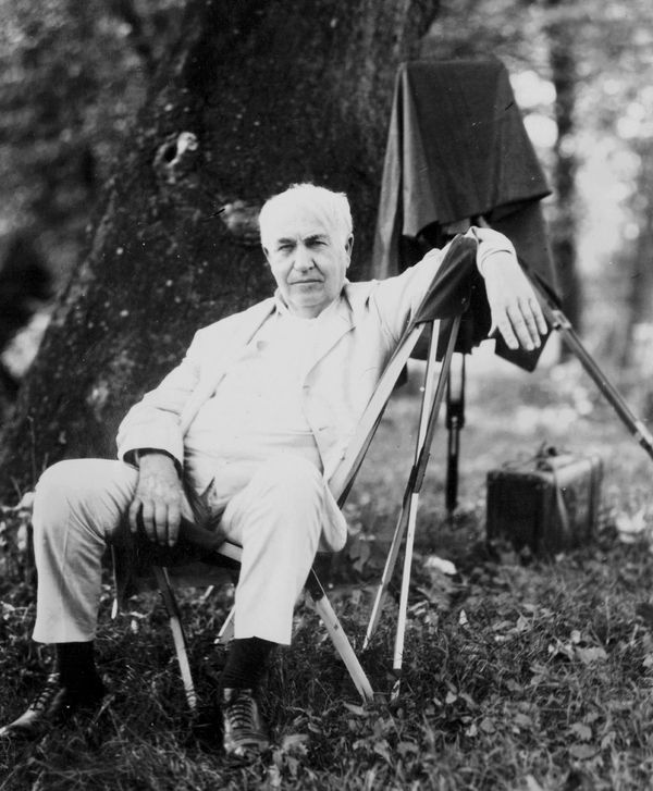 Thomas Edison on a car-camping trip he took in 1918 with Henry Ford and Harvey Firestone.