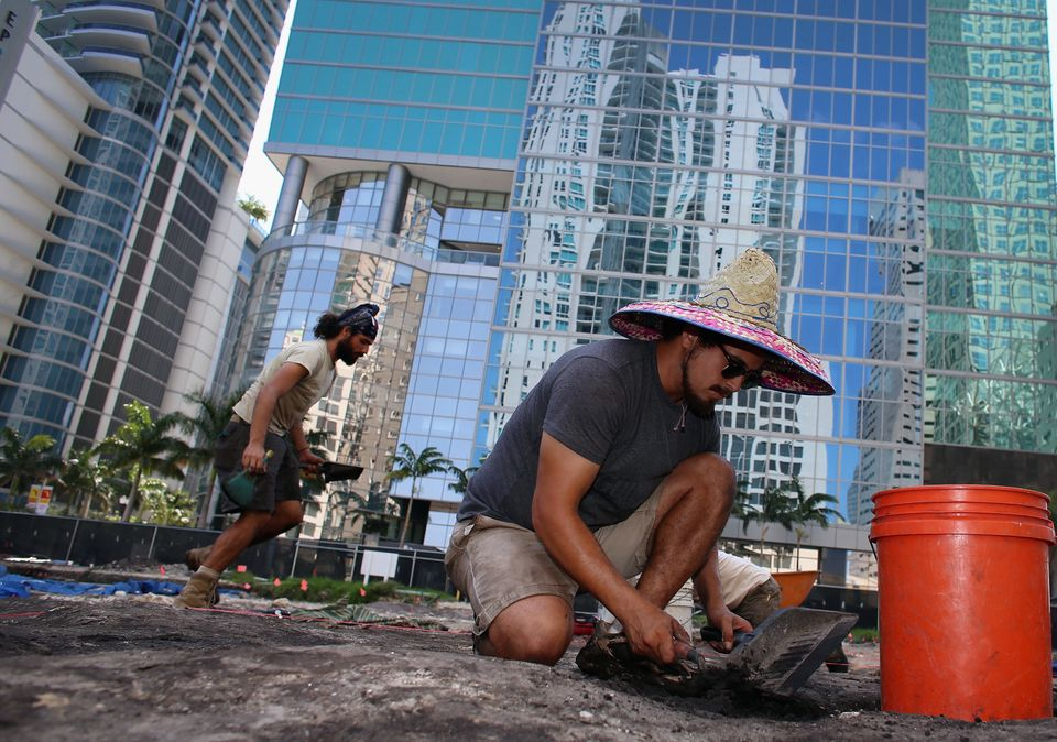 MIAMI, FL - MAY 10:  Archaeologists Mike Grady and Adrian Espinosa (L-R), with the Archaeological and Historical Conservancy,