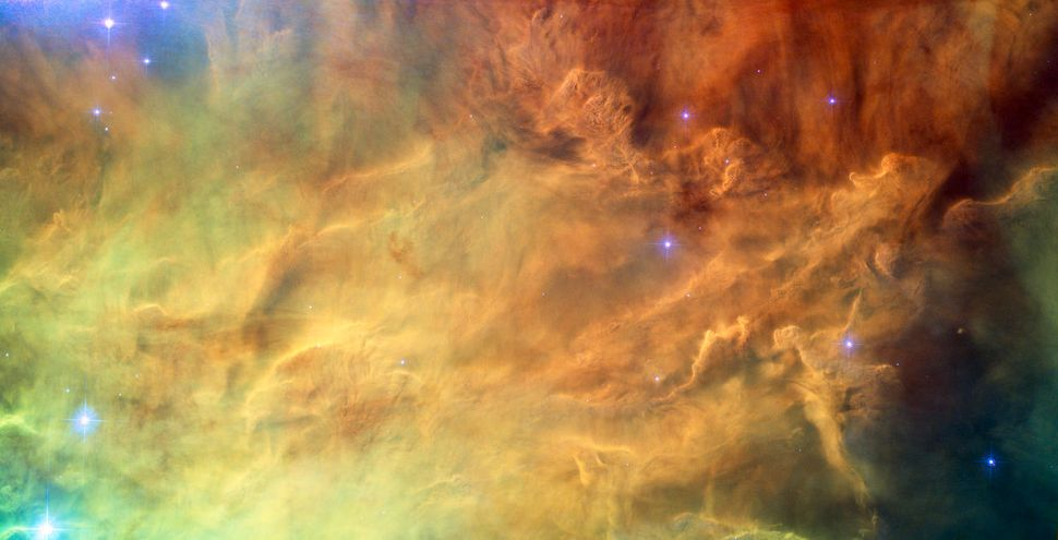 A spectacular NASA/ESA Hubble Space Telescope image reveals the heart of the Lagoon Nebula. Seen as a massive cloud of glowin