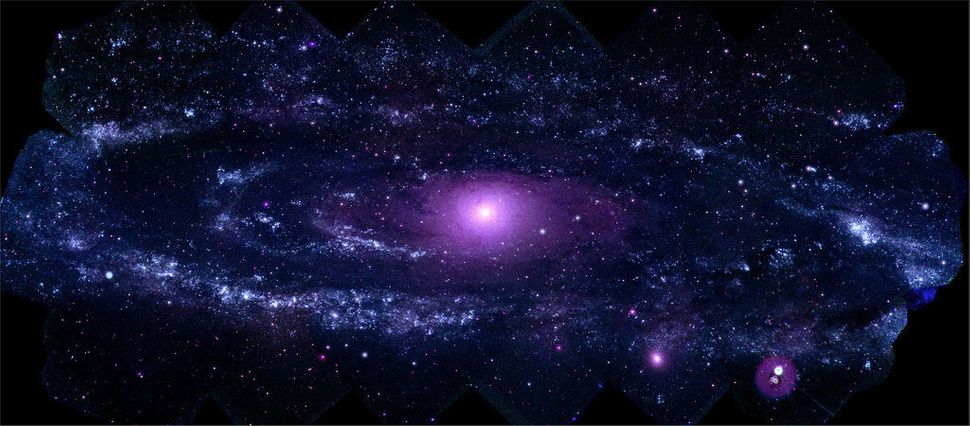 This mosaic of M31 merges 330 individual images taken by the Ultraviolet/Optical Telescope aboard NASA's Swift spacecraft. It