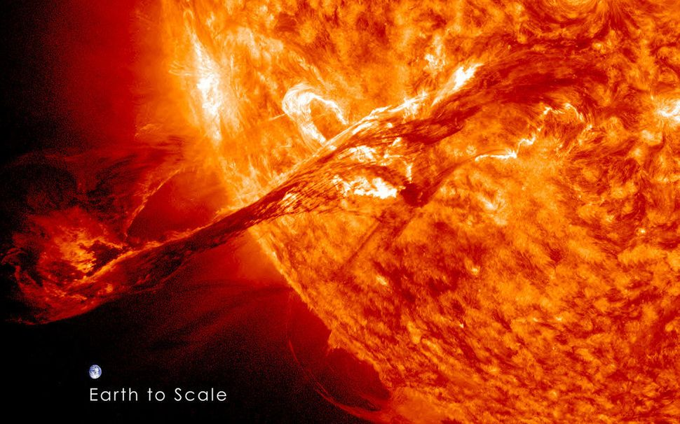 On August 31, 2012 a long filament of solar material that had been hovering in the sun's atmosphere, the corona, erupted out