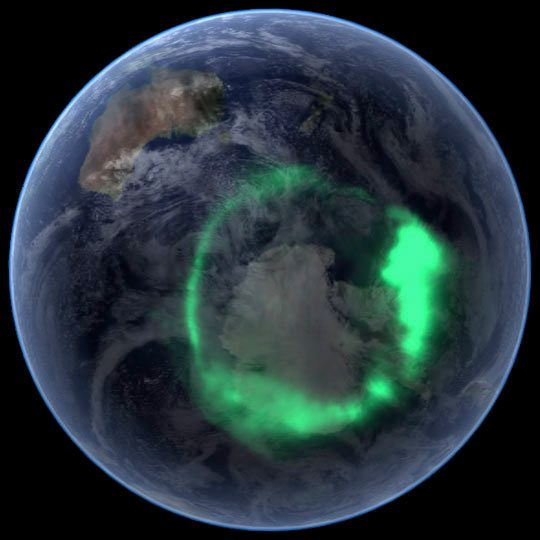 From space, the aurora is a crown of light that circles each of Earth's poles. The IMAGE satellite captured this view of the