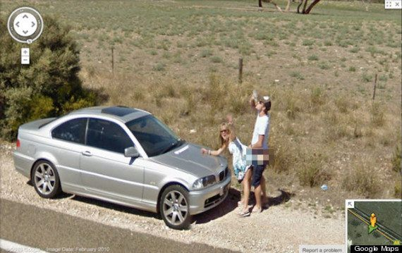 "This image, <a href=""http://www.huffingtonpost.co.uk/2013/04/11/australian-couple-sex-google-street-view_n_3058977.html"">capt"