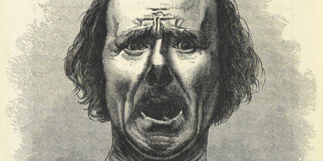 Horror and agony. Illustration in 'The expression of the emotions in man and animals '. Copied from a photograph by Dr Duchen