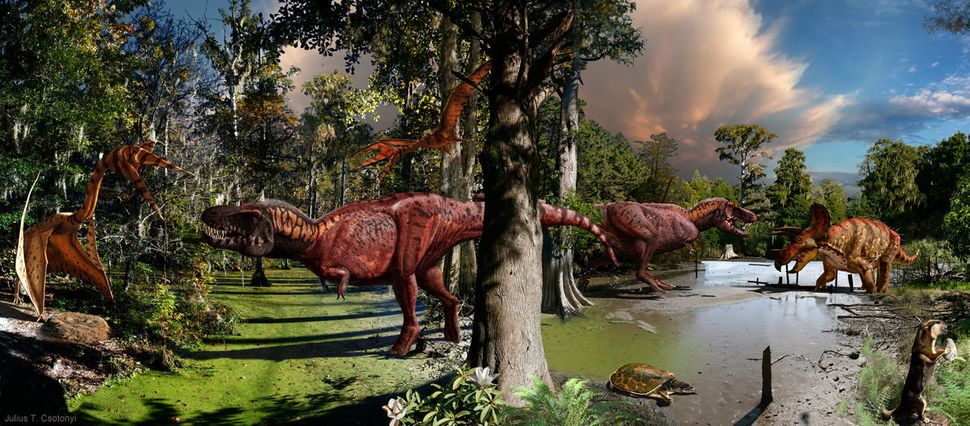 As paleontologists have elucidated, some pterosaurs (flying reptiles) were enormous – as tall as giraffes even. In this image