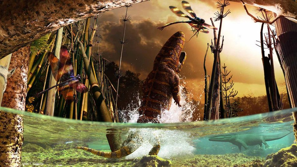 This image depicts the bizarre interval in Earth's history when insects such as Meganeuropsis (a gigantic prehistoric griffin