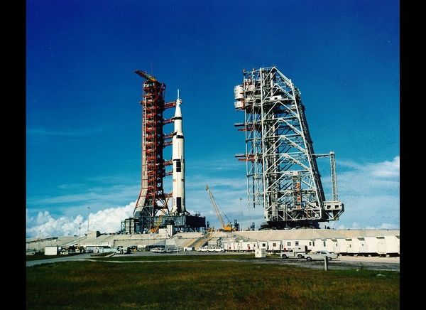 Apollo 11 Saturn V on launch pad 39A.