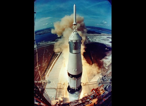 Apollo 11 lifts off, from launch tower camera on July 16, 1969.