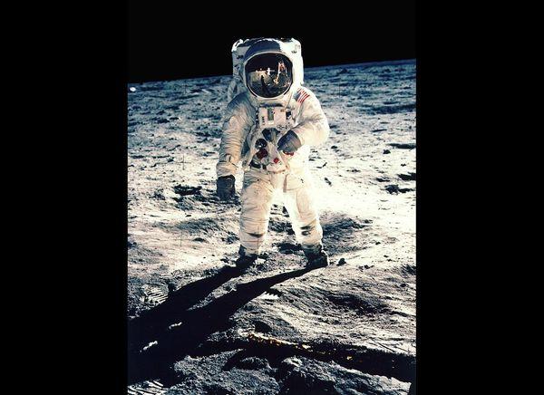 Aldrin poses for portrait.