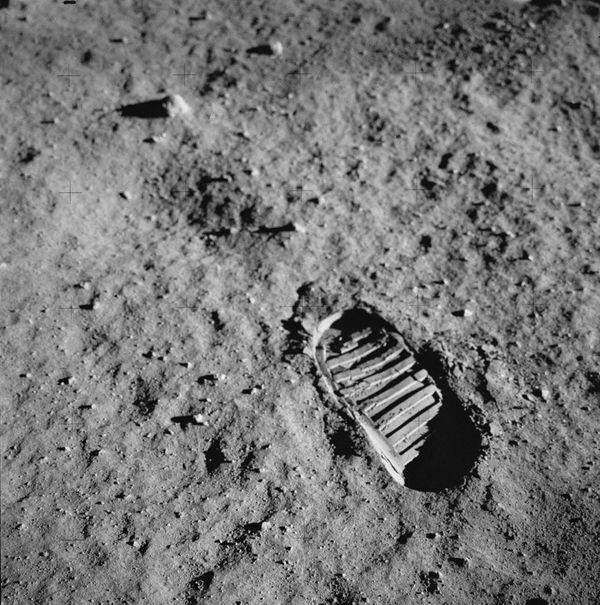 Aldrin photographed this footprint in the lunar soil as part of an experiment to study the nature of lunar dust and the effec