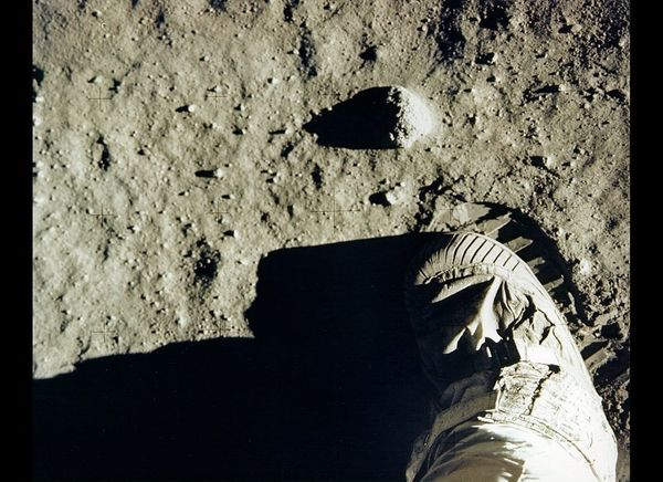Aldrin's boot and footprint in lunar soil.