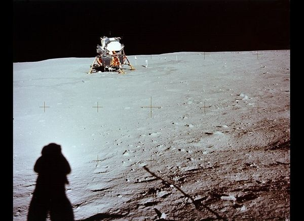 Armstrong photo of lunar module from a distance.