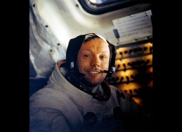 Armstrong in the lunar module after his historic moonwalk.