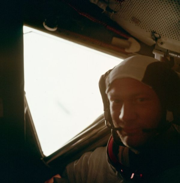 Aldrin in lunar module after moonwalk.