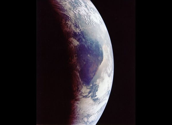 Closeup of Earth during return trip.