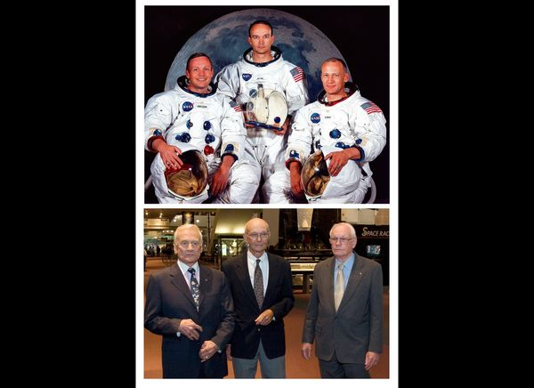 These NASA handout images show at top the Apollo 11 lunar landing astronaut crew from left: Neil A. Armstrong, Michael Collin