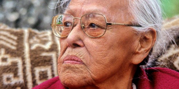 Eyak elder Marie Smith-Jones was honored at the Chickaloon powwow on June 30, 2001, in Chickaloon, Alaska.  (Photo by Marc Le