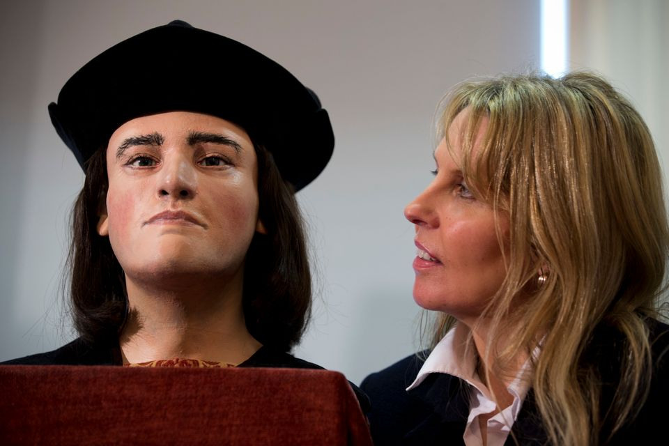 LONDON, ENGLAND - FEBRUARY 05:  Richard III Society member Philippa Langley stands besides a facial reconstruction of King Ri