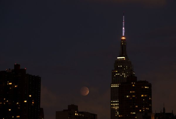 The eclipse spotted through clouds near the Empire State Building in New York City.