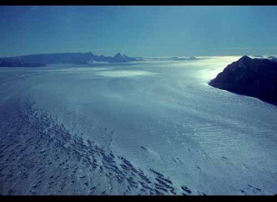 Scott Glacier spills from the East Antarctic Ice Sheet on its journey through the Transantarctic Mountains.  Intersecting set