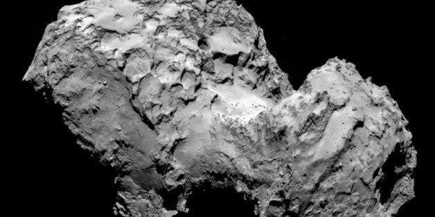 IN SPACE - AUGUST 3:  In this handout from the European Space Agency (ESA), the comet Comet 67P/Churyumov-Gerasimenko is seen