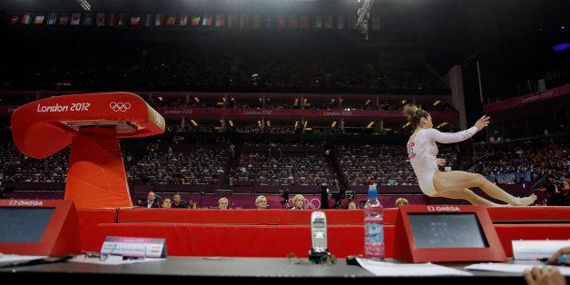 U.S. gymnast McKayla Maroney botches her dismount during the artistic gymnastics women's vault finals at the 2012 Summer Olym