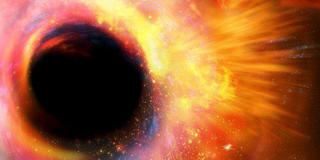 Black hole formation, computer artwork.