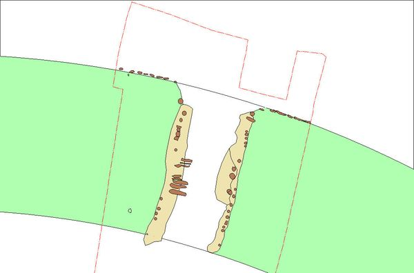 The excavation plan around the north gate, showing the tracks of timber structures from the collapsed port.