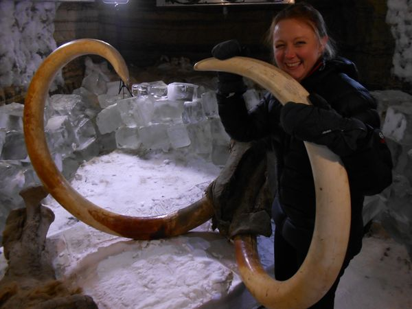 Dr. Tori Herridge, a paleobiologist at the Natural History Museum in London, with mammoth tusks.