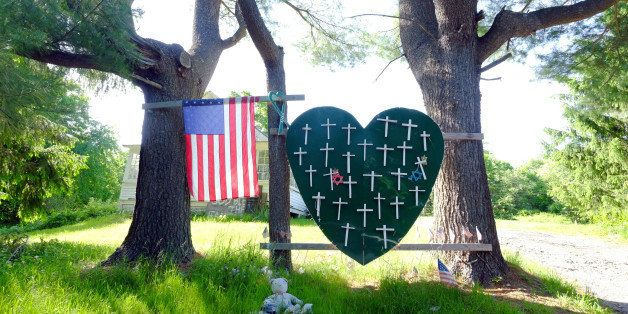 Sandy Hook Elementary School shooting, heart and cross memorial near Sandy Hook Firehouse on Riverside Road in Sandy Hook, CT