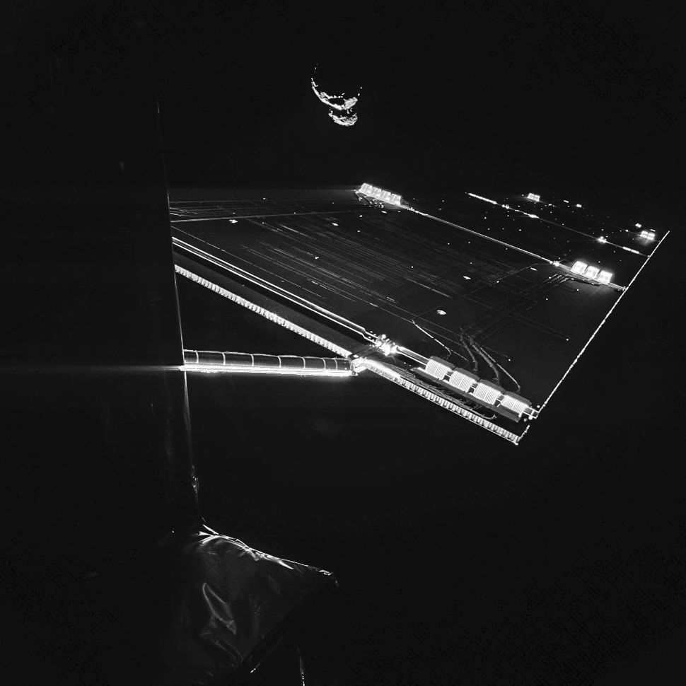 The Philae lander took this portrait of the Rosetta spacecraft on Sept. 7, 2014, at a distance of about 30 miles from comet <