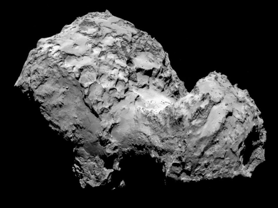 Comet 67P/Churyumov-Gerasimenko, captured on Aug. 3, 2014 by Rosetta's OSIRIS narrow-angle camera.